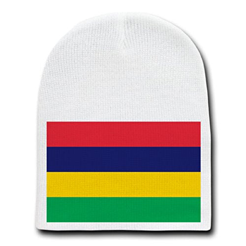 Mauritius - World Country National Flags - White Beanie Skull Cap Hat