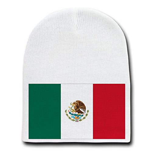 Mexico - World Country National Flags - White Beanie Skull Cap Hat