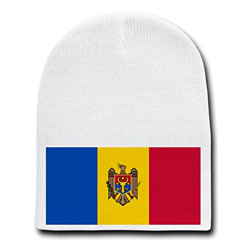 Moldova - World Country National Flags - White Beanie Skull Cap Hat