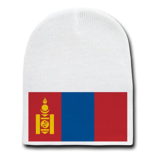 Mongolia - World Country National Flags - White Beanie Skull Cap Hat