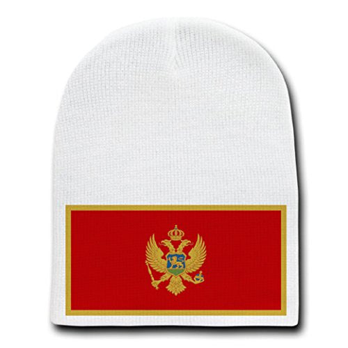 Montenegro - World Country National Flags - White Beanie Skull Cap Hat