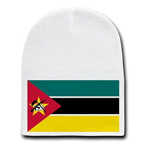 Mozambique - World Country National Flags - White Beanie Skull Cap Hat