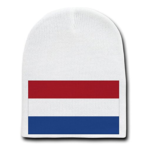 The Netherlands - World Country National Flags - White Beanie Skull Cap Hat