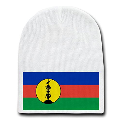 New Caledonia - World Country National Flags - White Beanie Skull Cap Hat