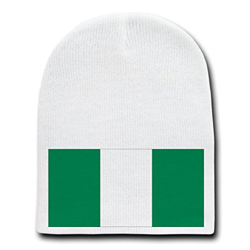 Nigeria - World Country National Flags - White Beanie Skull Cap Hat