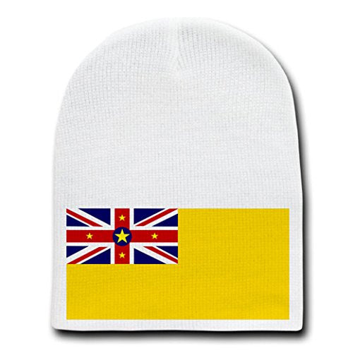Niue - World Country National Flags - White Beanie Skull Cap Hat