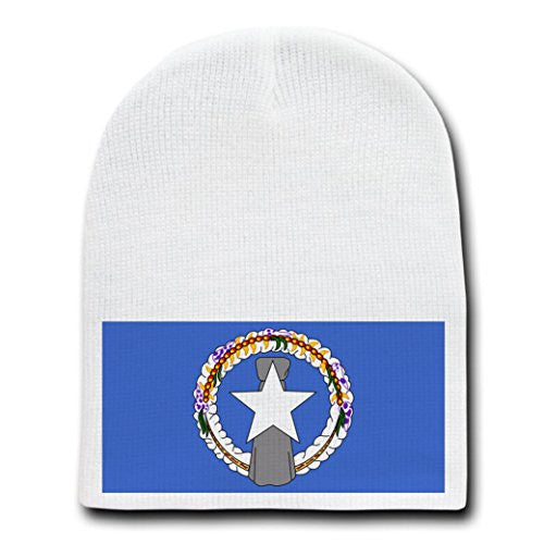 Northern Mariana Islands - World Country National Flags - White Beanie Skull Cap Hat
