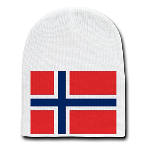 Norway - World Country National Flags - White Beanie Skull Cap Hat