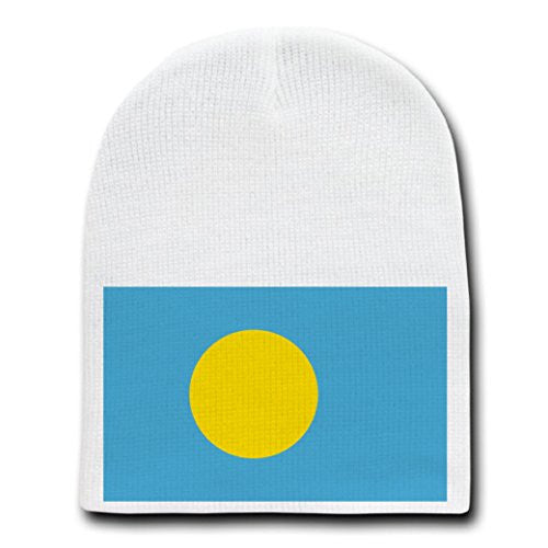Palau - World Country National Flags - White Beanie Skull Cap Hat
