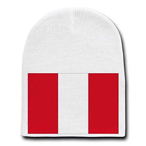Peru - World Country National Flags - White Beanie Skull Cap Hat