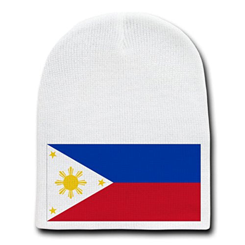 Philippines - World Country National Flags - White Beanie Skull Cap Hat