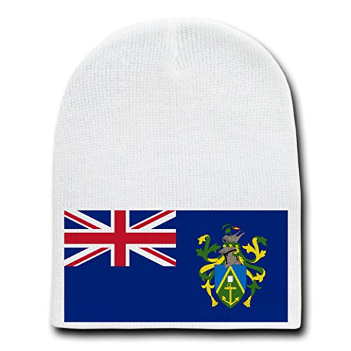 Pitcairn Islands - World Country National Flags - White Beanie Skull Cap Hat
