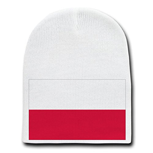 Poland - World Country National Flags - White Beanie Skull Cap Hat