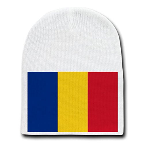 Romania - World Country National Flags - White Beanie Skull Cap Hat