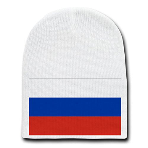 Russia - World Country National Flags - White Beanie Skull Cap Hat
