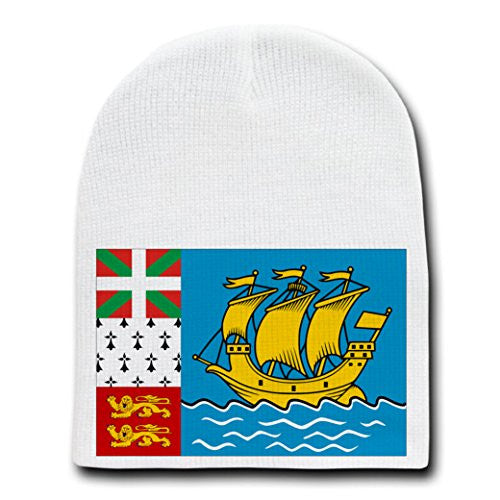 Saint Pierre & Miquelon - World Country National Flags - White Beanie Skull Cap Hat