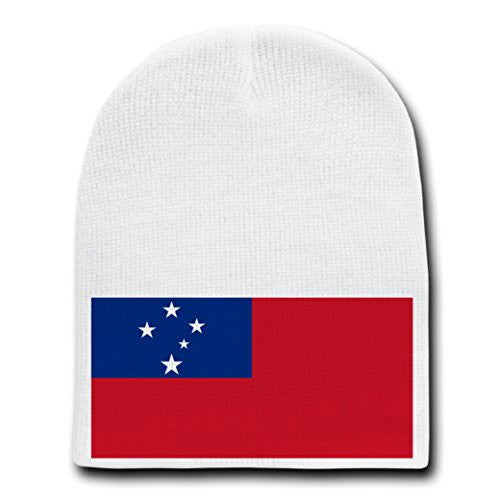 Samoa - World Country National Flags - White Beanie Skull Cap Hat