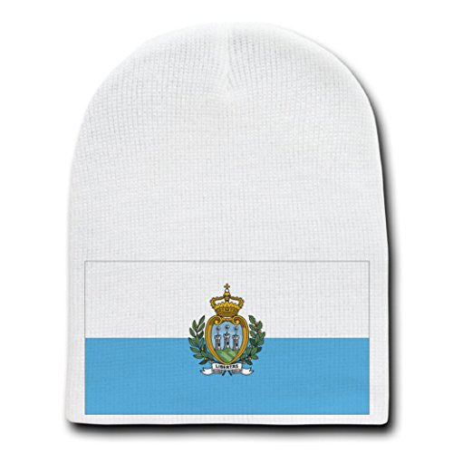 San Marino - World Country National Flags - White Beanie Skull Cap Hat