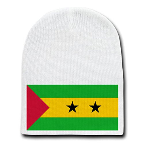Sao Tome & Principe - World Country National Flags - White Beanie Skull Cap Hat