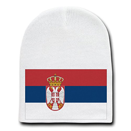 Serbia - World Country National Flags - White Beanie Skull Cap Hat