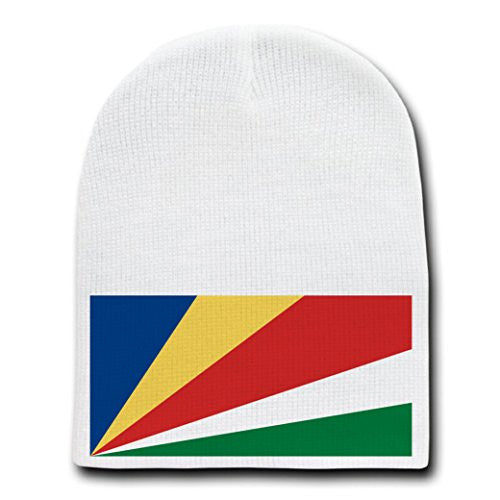 Seychelles - World Country National Flags - White Beanie Skull Cap Hat