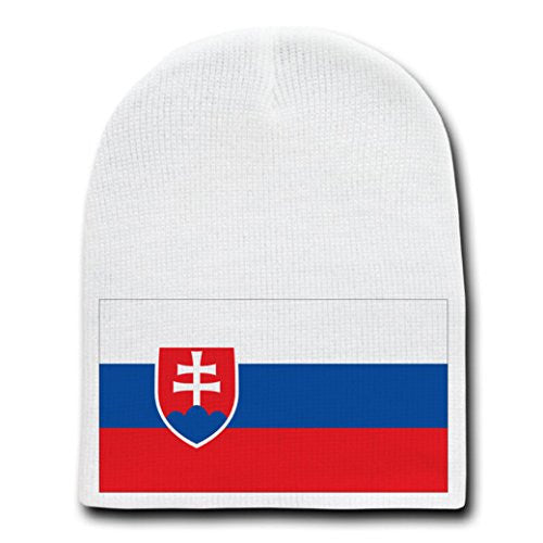 Slovakia - World Country National Flags - White Beanie Skull Cap Hat