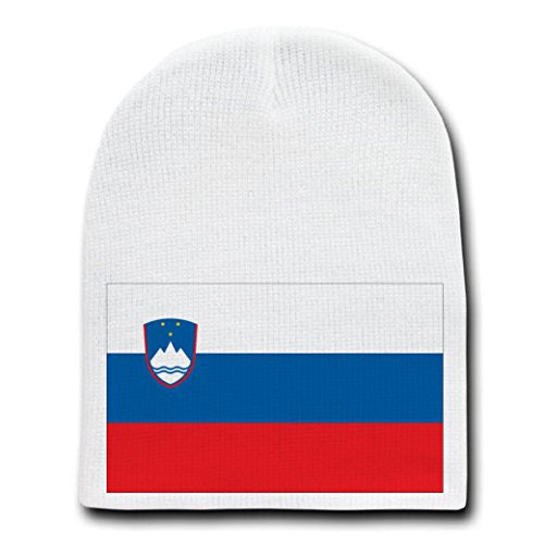 Slovenia - World Country National Flags - White Beanie Skull Cap Hat