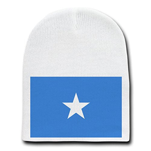 Somalia - World Country National Flags - White Beanie Skull Cap Hat
