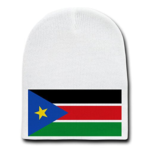 South Sudan - World Country National Flags - White Beanie Skull Cap Hat