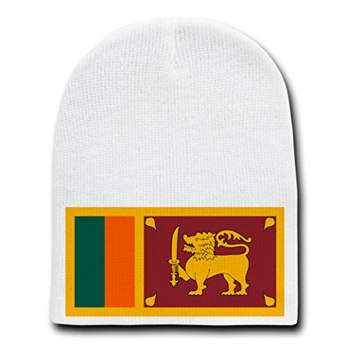 Sri Lanka - World Country National Flags - White Beanie Skull Cap Hat