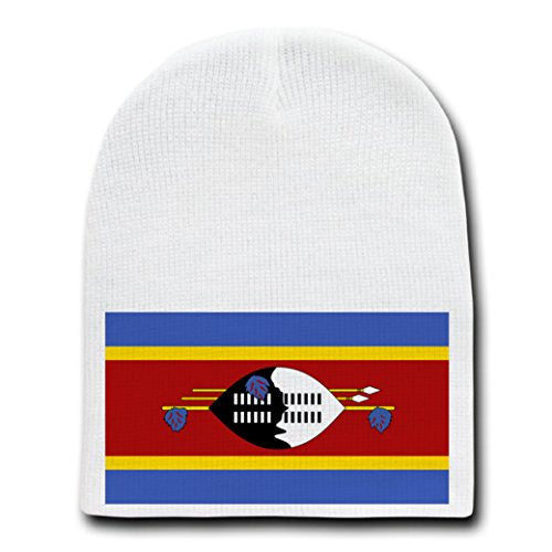 Swaziland - World Country National Flags - White Beanie Skull Cap Hat