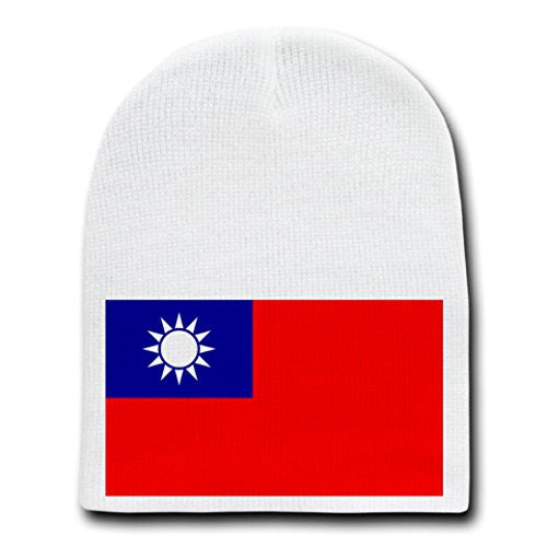 Taiwan - World Country National Flags - White Beanie Skull Cap Hat