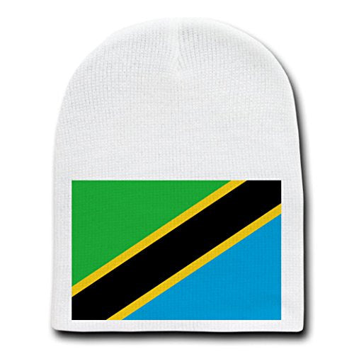 Tanzania - World Country National Flags - White Beanie Skull Cap Hat