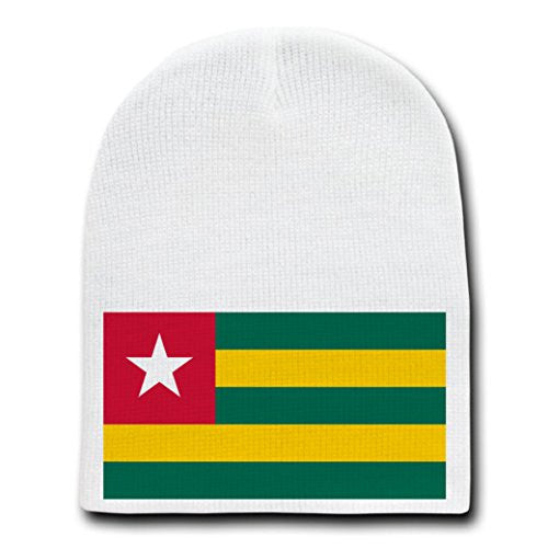 Togo - World Country National Flags - White Beanie Skull Cap Hat