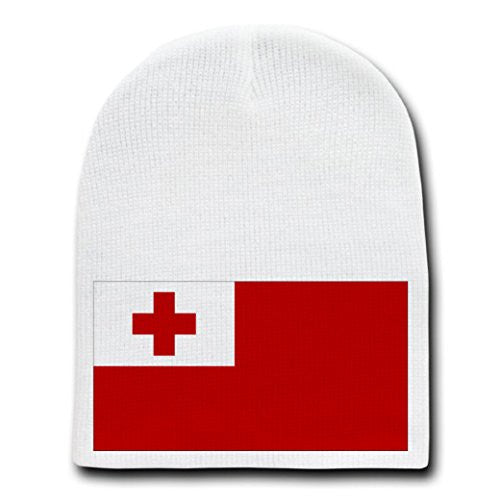 Tonga - World Country National Flags - White Beanie Skull Cap Hat