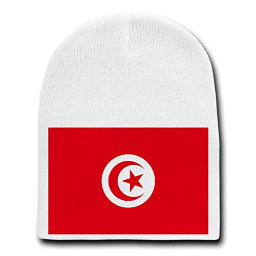 Tunisia - World Country National Flags - White Beanie Skull Cap Hat