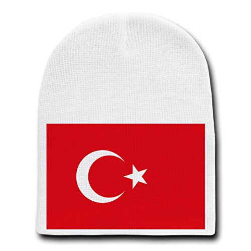 Turkey - World Country National Flags - White Beanie Skull Cap Hat
