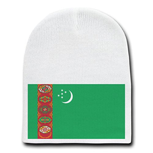 Turkmenistan - World Country National Flags - White Beanie Skull Cap Hat