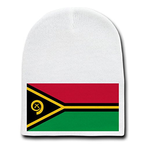 Vanuatu - World Country National Flags - White Beanie Skull Cap Hat
