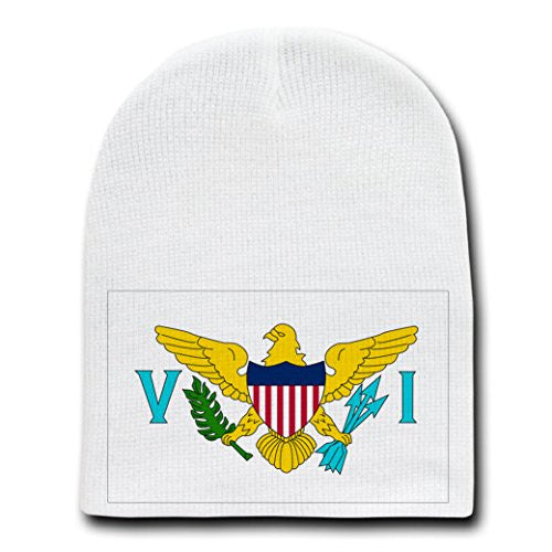 Virgin Islands - World Country National Flags - White Beanie Skull Cap Hat