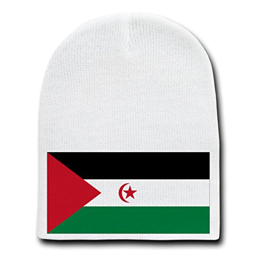 Western Sahara - World Country National Flags - White Beanie Skull Cap Hat