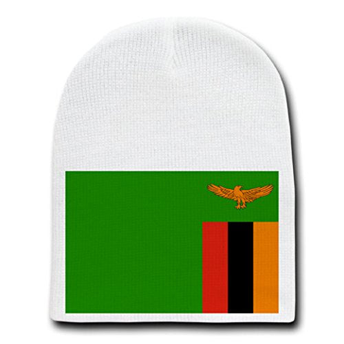 Zambia - World Country National Flags - White Beanie Skull Cap Hat
