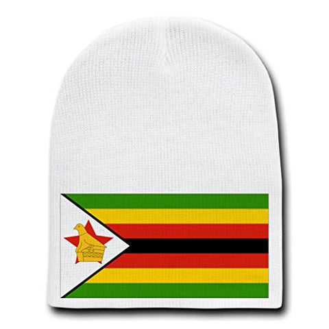 Zimbabwe - World Country National Flags - White Beanie Skull Cap Hat