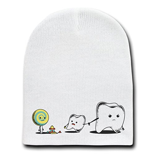 'Bad Friend' Teeth & Lollipop Funny Parody Logo - White Beanie Skull Cap Hat