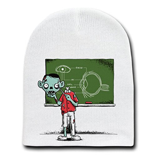 'Eye Lesson' Zombie Teaching About Eyeball - White Beanie Skull Cap Hat
