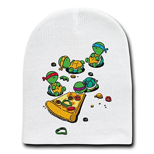 'Pizza Lover' TV Movie Parody Turtles Eating Pizza - White Beanie Skull Cap Hat