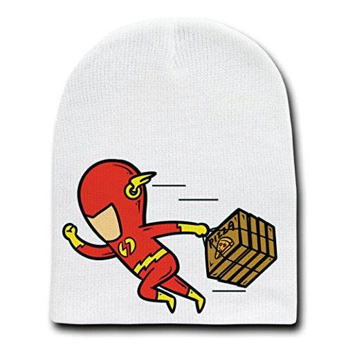 'Part-Time JOB Pizza Shop' Funny Parody Super Hero Delivering Pizza Fast - White Beanie Skull Cap Hat