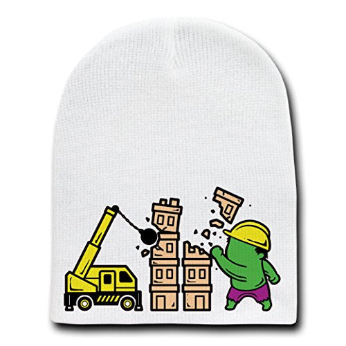'Part-Time JOB Construction' Parody Hero Demolishing Building - White Beanie Skull Cap Hat