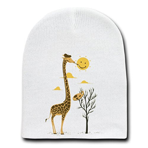 'Painting Smiley' Giraffe Artist Painter & Sun Smiling - White Beanie Skull Cap Hat