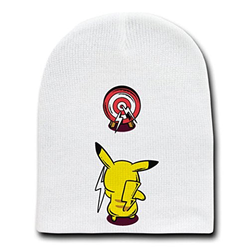 'Practice Time' Anime Parody Throwing Lightning Bolts - White Beanie Skull Cap Hat